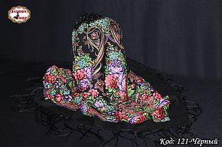 Павлопосадский чёрный платок Адель, фото 3