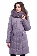 Теплое женское зимнее пальто с меховым воротником