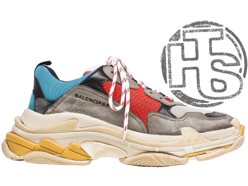 Жіночі кросівки Balenciaga Triple S Trainers Gray/Red/Blue 483513W06E34365