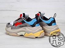 Жіночі кросівки Balenciaga Triple S Trainers Gray/Red/Blue 483513W06E34365, фото 2