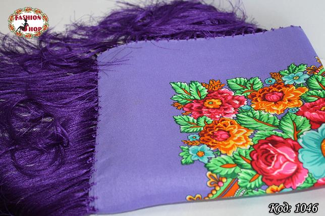 Павлопосадский фиолетовый платок Майя, фото 2