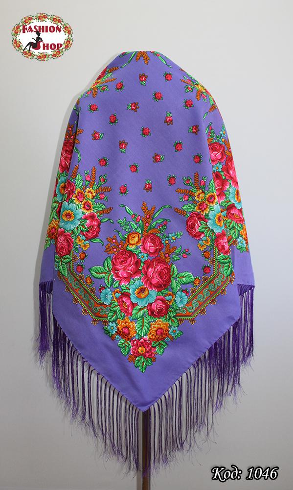 Павлопосадский фиолетовый платок Майя