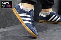 Мужские кроссовки adidas HAMBURG, темно-синие с белым, материал - замша, подошва - полиуретан