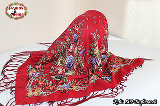 Павлопосадский бордовый платок Дыхание природы, фото 2