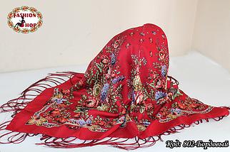 Павлопосадский бордовый платок Дыхание природы, фото 3
