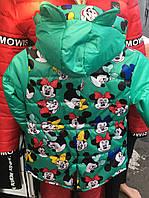 Детская демисезонное куртка Ушки Мики оптом 6-9 лет мята