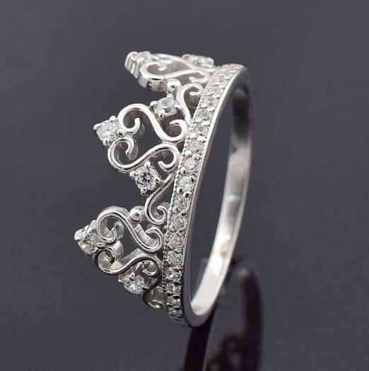 "Серебряное кольцо ""Корона №4"", размер 15, вес серебра 2.59 г"