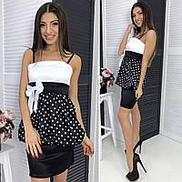 Женское платье в горошек с бантом