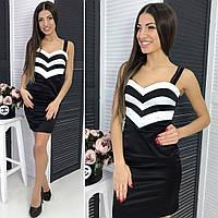 Женское платье черно - белое