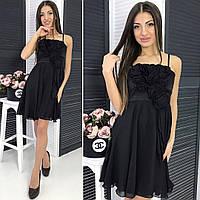 Женское платье черное на брительках
