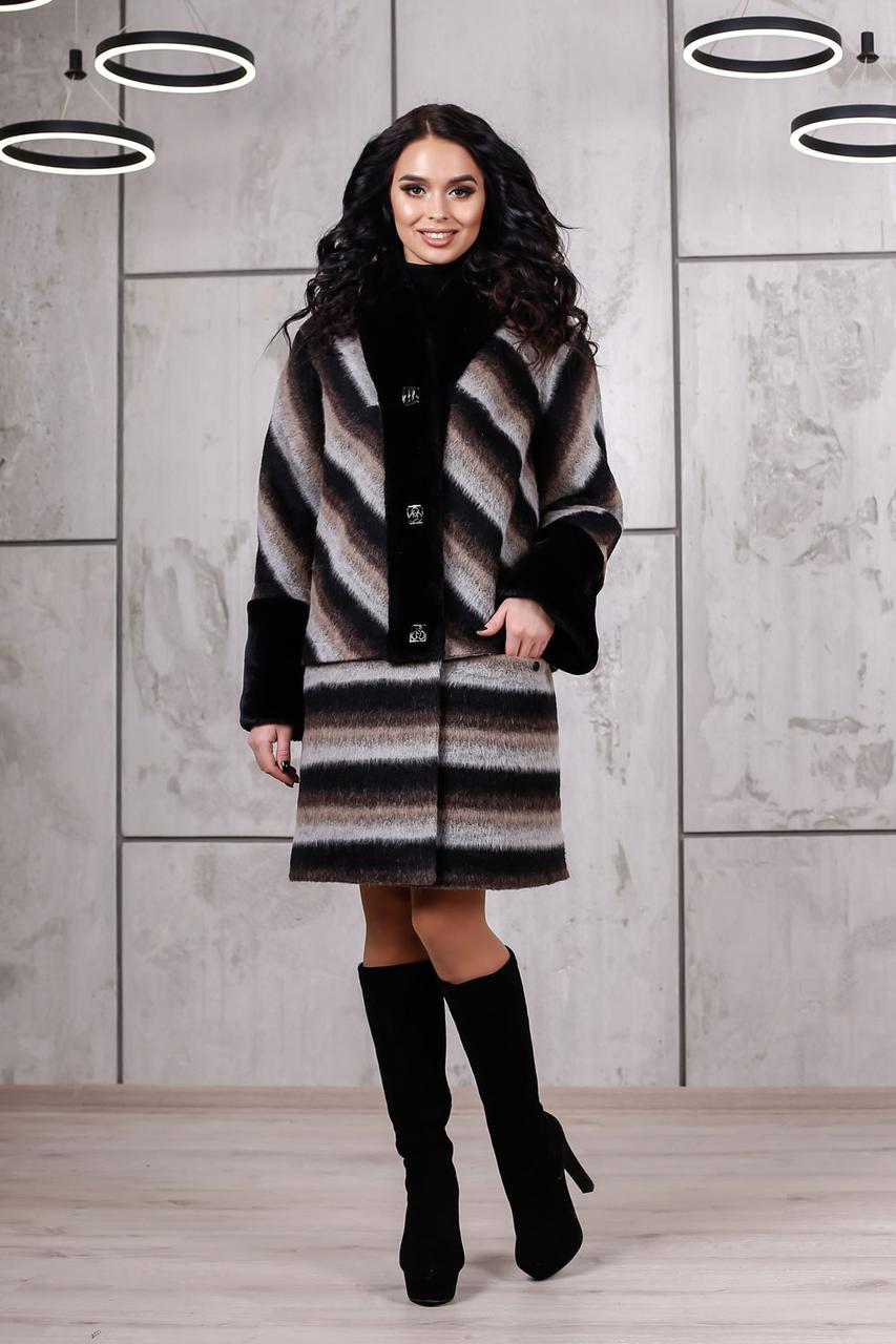b015754509e Зимове пальто на ватині в полоску - «Чарівна Пані» — магазин стильного  жіночого одягу