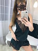 Шелковый комплект майка и шорты с кружевом