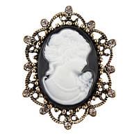 Брошь Vintage Style Камея черная/ цвет черный, основа бронза