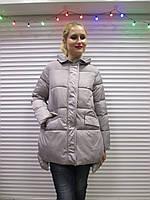 Женская зимняя куртка,р. 3XL светло-серого цвета,наполнитель-холлофайбер