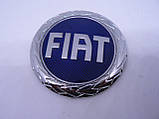 Эмблема z Fiat синяя диаметром 74,5мм маленькая Фиат в крапинку наклейка на авто, фото 2