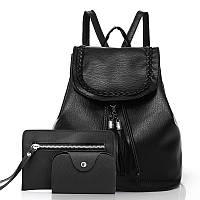 Женский рюкзак 3в1 черный на шнурке из экокожи опт, фото 1