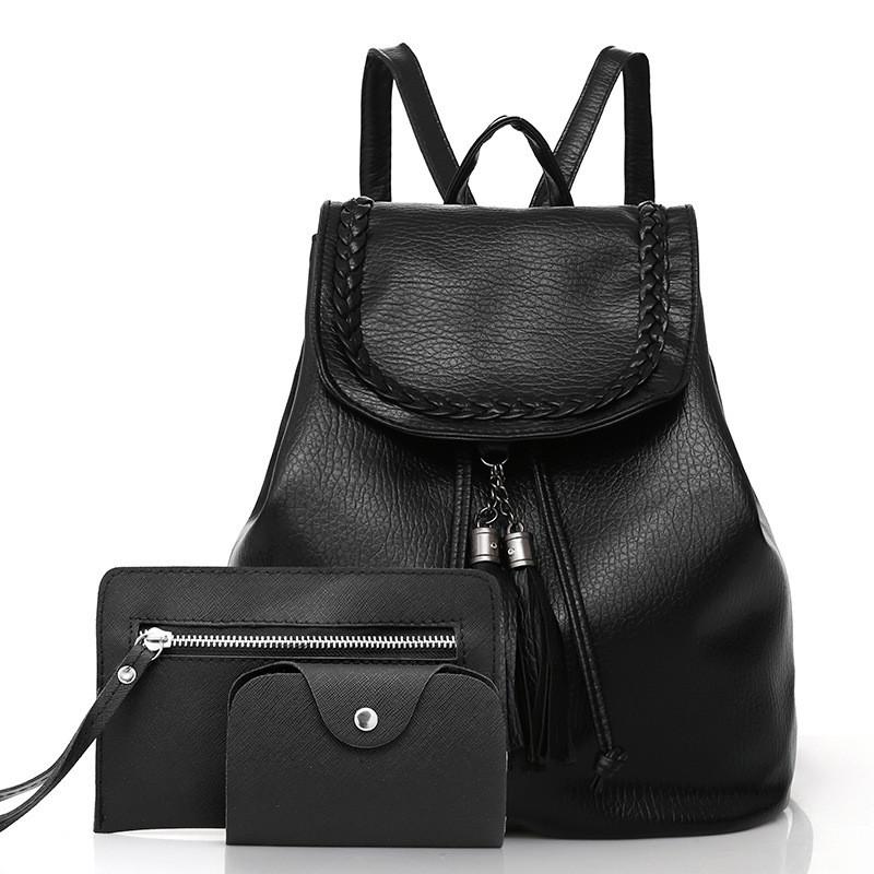 cf34cf76ba95 Женский рюкзак 3в1 черный на шнурке из экокожи купить по выгодной ...