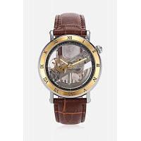Модные мужские авто механические часы 42 мм коричневый и золотистый