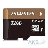 Карта памяти ADATA 32GB microSDHC class 10 UHS-1 (без адаптера) (AUSDH32GUICL10-R)