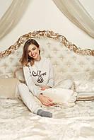 Домашній костюм піжама - Бежева з кавою