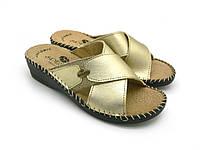 Женские шлепанцы эко кожа, золотой (35-40), (36-41) домашняя и прогулочная обувь