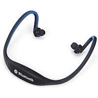 Bluetooth гарнитура Lesko S9 Синяя вакуумная с затылочным креплением мультимедийная
