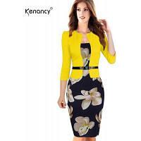 Платье карандашом цветка Kennancy горячего лоскутного шитья Элегантные женщины плюс размер Bodycon Случайное платье работы с поясом XL