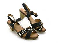 Женские босоножки на каблуке, искусственная кожа, черный (36-41)
