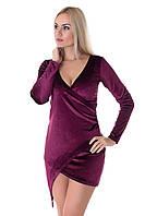Женское платье с запахом из бархата