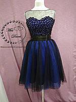 a07ce23de4e Вечернее коктейльное платье расшитое бусинами черное с синим