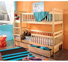 Кровать двухярусная трансформер Санни с ящиками и бортиками массив, фото 3
