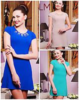 42,44,46,48,50 размер Красивое платье Камелия бирюзовое голубое женское короткое летнее батал деловое