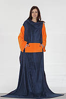 Плед с рукавами темно синий с оранжевым
