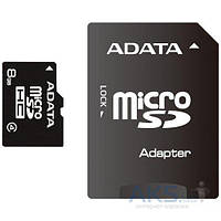 Карта памяти ADATA 8GB microSDHC C4 + SD (AUSDH8GCL4-RA1)