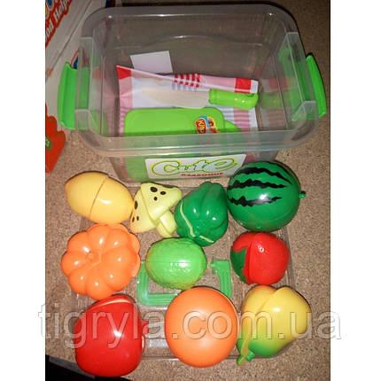 Разрезные овощи и фрукты, продукты на липучках в ланчбоксе - пластмассовые продукты на липучке в контейнере, фото 2