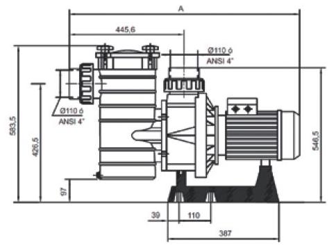 габаритные размеры и подключение насоса Hayward HCP40553E1