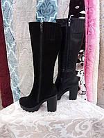 Зимние сапоги женские на каблуке из кожи и замши на меху 828