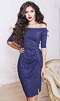 Женское платье синее на запах с разрезом