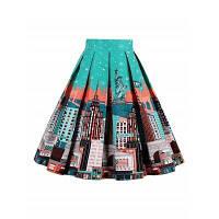 Печатная плиссированная юбка с высокой талией S