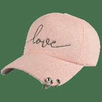 Бейсбол-Шляпа С Вышивкой Букв И Металлическими Кольцами И Бисерами Розовый