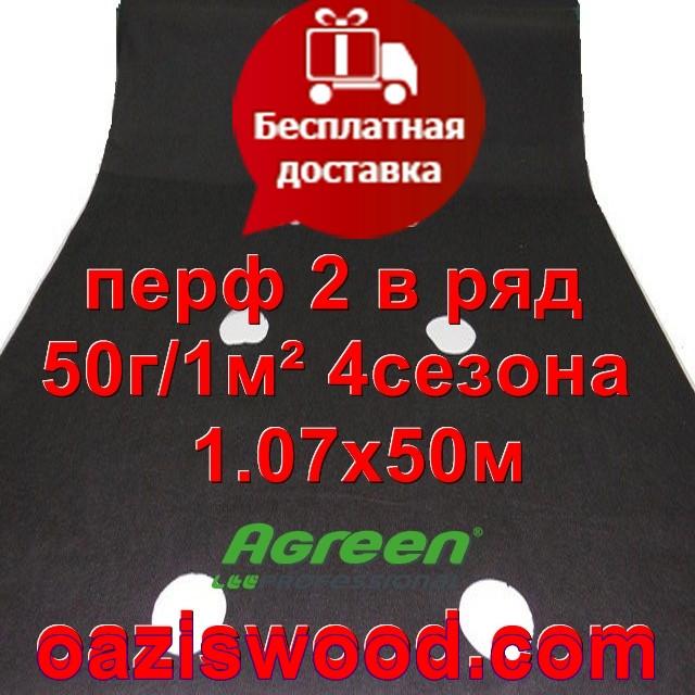 Агроволокно с перфорацией 2 в ряд p-50g 1.07*50м черное AGREEN 4сезона Итальянское качество