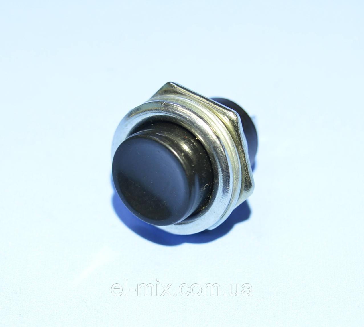 Кнопка без фиксации DS-212 (PBS-26B) черная 1-группа OFF-(ON), Daier