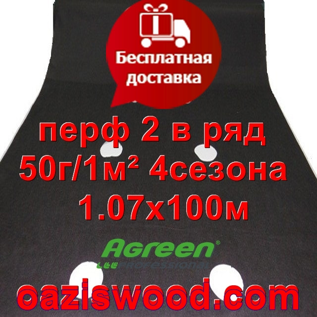 Агроволокно с перфорацией 2 в ряд p-50g 1.07*100м черное AGREEN 4сезона Итальянское качество