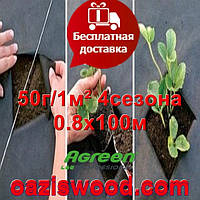 Агроволокно p-50g 0.8*100м черное AGREEN 4сезона Итальянское качество