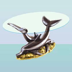 Журнальный стеклянный стол, скульптурный кофейный столик Дельфины