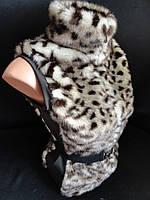 Леопардовые меховые безрукавки для женщин.