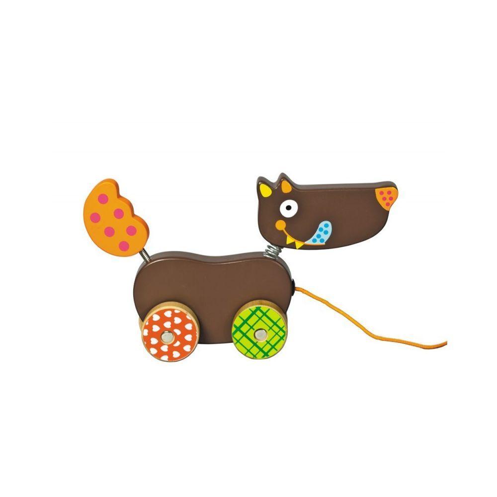 """Ebulobo - Деревянная игрушка-каталка """"Волк"""", 21 см"""