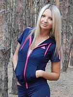 """Спортивная кофта женская Adidas """"Триколор"""" с коротким рукавом. Распродажа синий с розовыми лампасами, 44"""