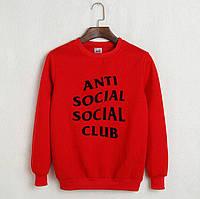 Молодежный красный свитшот анти социал, красный реглан