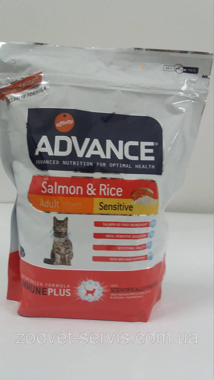 Корм для кошек с чувствительным кишечником (с лососем и рисом)Advance (Эдванс) Cat Sensitive Salmon & Rice